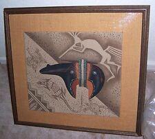 "VTG Navajo Eugene Joe ""Batsoslanii"" Original Sand Painting w/Turquoise 1977 RARE"