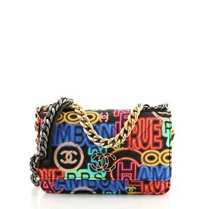 Chanel 19 Wallet on Chain Multicolor Quilted Printed Nylon