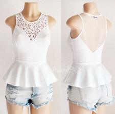 Ivory White Lace Mesh Inset Sweetheart Sleeveless Stretch Knit Peplum Top - M