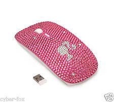 Cute Girl Pink Crystal Rhinestone 2.4G Wireless Slim Flat Optical Mouse Mice