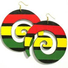 Rasta Swirl Handmade Multi Statement Dangle Wood Earrings