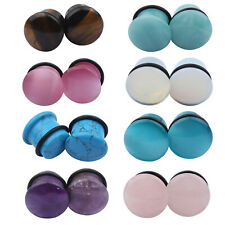 1Pair Man-made Stone Round Ear Expander Ear Gauges Piercing Plugs Stretching Kit