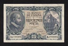 F.C. 25 PESETAS 1940 , SERIE A , EBC , CON TODO SU APRESTO , ESQUINAS DOBLADAS .