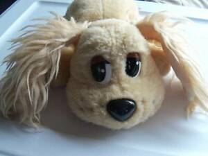 "Pound Puppy Cocker Spaniel  Cream Color  Plush  13"" Long  Blue Collar  Clean"