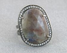 12.00ct Rose Cut Sapphire & Diamond Cut White Sapphire 925 Silver Cocktail Ring