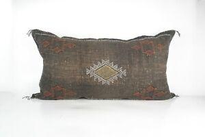 Moroccan Cactus Silk lumbar Pillow Handmade brown bohemian eclectic sabra kilim