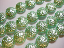 10 Lovely Czech Glass Button Beads 14mm Mint Pearl