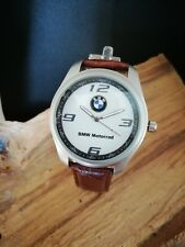 BMW Mens Watch Stainless Steel Brown Leather Strap White Dial