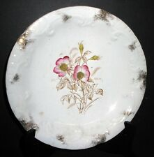 ANTIQUE VICTORIAN BROWN TRANSFERWARE HAND PAINTED PINK FLOWER WALL PLATE ENGLISH