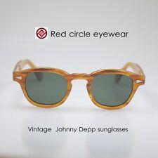 Retro vintage Depp polarized sunglasses mens Blonde glasses G15 green lenses