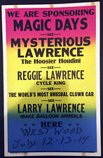 Original Mysterious Lawrence The Hoosier Houdini Window Card