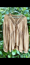 Free People Boho Long Sleeved Blouse Women's Size Medium Color: Brown