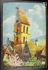 Jean-Jacques Waltz Hansi Clocher d'Eguisheim Alsace 1928 Lithographie originale