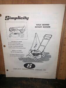 "Simplicity Walk Behind Rotary Mower 21"" Parts List Self Propelled."