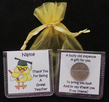 PERSONALISED THANK YOU TEACHER  GIFT LUCKY SIXPENCE KEEPSAKE 12 DESIGNS CHICK