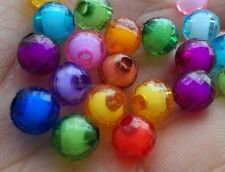 200Pcs 6mm Multi-Color Acrylic Faceted Round double Beads