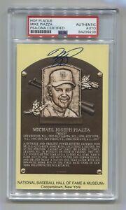 Mike Piazza Signed Auto Gold HOF Plaque Postcard Yellow PSA Fanatics MLB HOLO