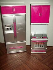 Barbie Refrigerator Kitchen Stove With Sounds Pink Silver White Furniture