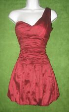 BCBG Maxazria Red Ruched Taffeta Sweetheart 1-Shoulder Social Party Dress 2 $368