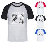 NEW Mens T-shirt Michael Air Legend 23 Jordan Men baseball shirt Raglan Graphic