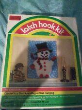 "Vintage Snowman 9580 18x24"" Christmas Latch Hook hooking Rug Kit New"