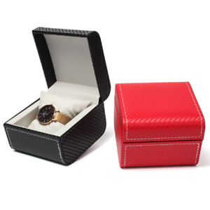 100x Travel Single Watch Box Case Black Faux Leather Bracelets Bangle Jewel Box