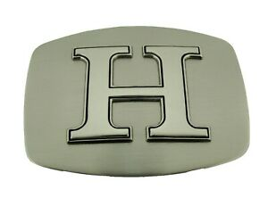 Initial Letter H Belt Buckle Western Rodeo Texas Style Silver Plain Finished New