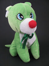 """Plush Appeal Soft Green Dog 8"""" White Snout Chest Red Nose Green Ribbon Stuffed"""