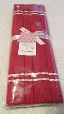 """New Christmas Place Mats Red Jingles & Joy Marshall's Woven Heavy 14"""" Wide"""