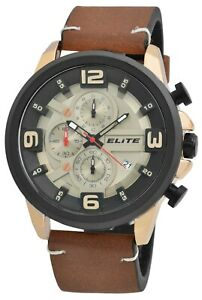 Elite Men's Watch Brown Rose Gold Black Leather Date Chronograph W-2900192001
