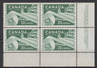 CANADA #362 20¢ Paper Industry LR Plate #4 Block MNH