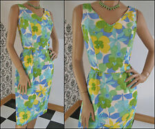 60s MOD Bright FLORAL Print SILK Fitted SHEATH Wiggle COCKTAIL Party Dress S/XS