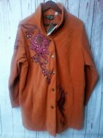 Bob Mackie Wearable Art Embroidered Fleece Imperial Jacket SZ 1X  Rust Orange
