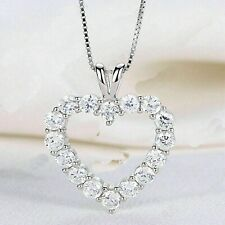 Certified 2.00 Ct Diamond Round Cut 14K White Gold Heart Shape Pendant Necklaces