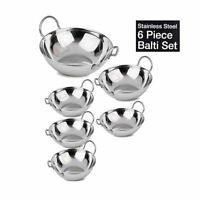 New 6pc Stainless Steel Indian Curry Bowl Balti Dish Karahi Set BN