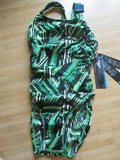 NEW Speedo Size 6 32 ATHLETIC Swimsuit RACING Green Black White $82 Retail