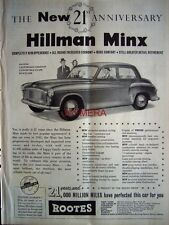 Hillman 'MINX' 1953 Motor Car ADVERT #5 - Original Auto Print AD