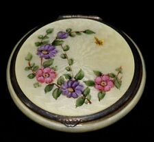 New listing Magnificent Antique F & B Sterling Hand Painted Floral Enamel Guilloche Compact