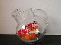 Vintage Juice Tilt Pitcher with Fruit Decoration 40s or 50s