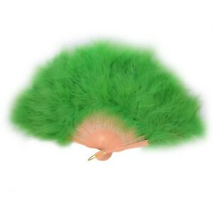 Handheld Large Feather Fan Solid Colour Photoshoot Dance Fancy Dress Light Green