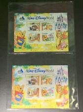 (2) Walt Disney World Florida Winnie the Pooh  Postage Stamp 1996 with COA