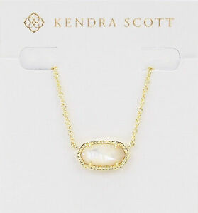 Kendra Scott Elisa Oval Pendant Necklace in Ivory and Gold Plated
