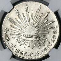 1860-Do NGC MS 62 Mexico 8 Reales Durango Mint Scarce Silver Coin (20050901C)