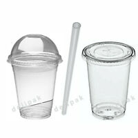 Smoothie Cups & Lids - 8 10 12 15 20oz Clear Domed Flat Lids Plastic Straws