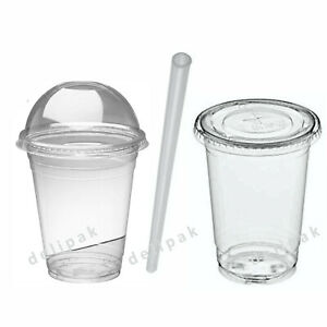 Disposable Smoothie Cups Domed Flat Slot Lids Clear Plastic Straws Slush Juice