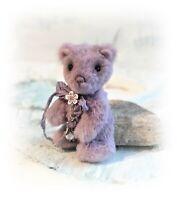 "4 1/2"" Violet Faux Fur Little Teddy OOAK jointed Artist Designer Boulter Bears"