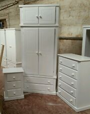 BERKSHIRE (WHITE) BEDROOM SET WARDROBE WITH TOP BOX+CH OF 5 DR+BEDSIDE *OFFER *