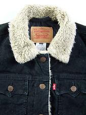 Levi's Women's Sherpa Jacket XL Extra Large Black Corduroy Vintage LJKTk219 #
