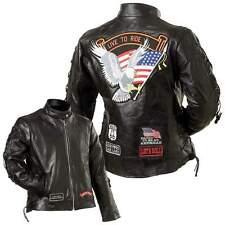 Womens Ladies Black Leather Motorcycle Jacket Biker Summer Tour S M L XL 2X 3X