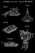 1986 - Blitzwing - Triple Changers - Transformers Robot - Patent Art Poster